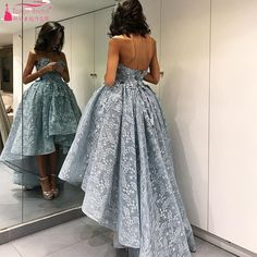 Find More Prom Dresses Information about  Hi Lo Prom Dresses Lace A Line elegant High Low Strapless Formal gowns Short Front Long Back Evening Dresses  Z1096,High Quality dress colour,China dress for less prom dresses Suppliers, Cheap dress marvel from Tanya Bridal Store on Aliexpress.com