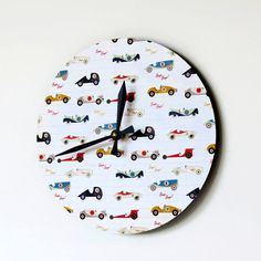 Unique Wall Clock Race Car Clock Boys Clock by Shannybeebo on Etsy