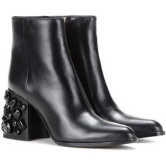 Marni Embellished Leather Ankle Boots (28 455 UAH) ❤ liked on Polyvore featuring shoes, boots, ankle booties, black, black leather bootie, black ankle boots, bootie boots, short leather boots and leather boots