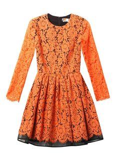 MSGM Long-sleeved lace dress on shopstyle.com