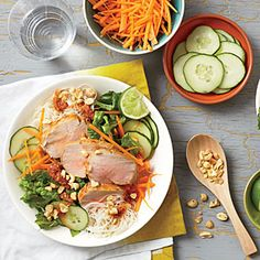 Vietnamese Barbecue Pork and Noodle Salad | Cooking Light #myplate #protein #veggies #fruit