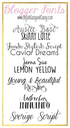 Blogger Tip {Fonts} // 12 FREE fonts for your blog.