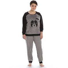 4904acd91fd Juniors  Plus Size SO® Pajamas  Fuzzy Animal Fleece Pajama Set Puppies In  Pajamas