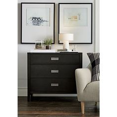 "Arch Charcoal Three-Drawer Chest in Dressers & Chests | Crate and Barrel   35""Wx19.5""Dx31.5""H"