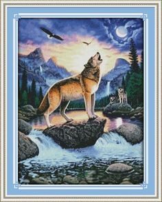 Howling Wolf Animal DMC Cross Stitch Kits Canvas 11CT Accurate Printed Embroidery DIY Handmade Needle Work Home Decor Set Art
