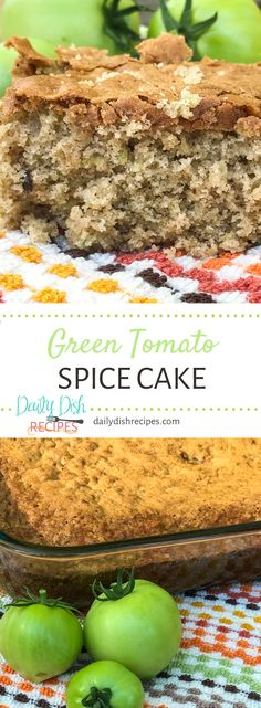 It isn't what it sounds like - it's an incredible slice of Fall, with a coffee cake texture and a delicious spiced flavor, this Green Tomato Spice Cake will be added to your fall recipes when you're in the mood for some fall baking! Easy Summer Desserts, Easy Holiday Recipes, Unique Recipes, Fun Desserts, Fall Recipes, Sweet Recipes, Delicious Desserts, Dessert Recipes, Green Tomato Bread Recipe