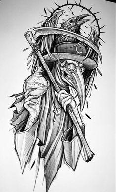 Tattoo Design Drawings, Tattoo Sleeve Designs, Tattoo Sketches, Tattoo Designs Men, Art Sketches, Sleeve Tattoos, Creepy Tattoos, Skull Tattoos, Body Art Tattoos
