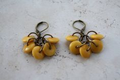 Yellow Tagua Nut Earrings