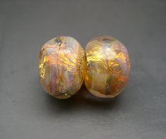 Naos Glass  Fairy Opals Pair  Peach Pink Purple Fire от Na0sGlass