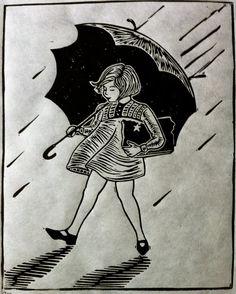 Rain Rain Lino Cut Print by OboyStudios on Etsy