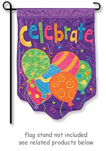 """Celebrate Balloons Garden Flag from FlagTrends by Carson. Garden size mini flag is 12.5"""" Wide x 18"""" Long."""