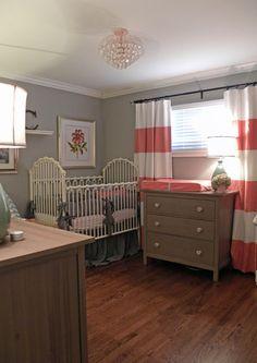 Grey Nursery Design - so cute, coral if a girl or aqua if a boy