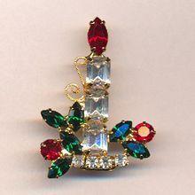 Eisenberg Ice Rhinestone Candle Christmas Pin