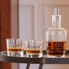 Schott Zwiesel Whiskey Set: The Schott Zwiesel Whiskey Set is the ultimate whiskey decanter in our collection. The Schott Zwiesel Whiskey Set includes a visually stunning collection of crystal pieces, each featuring a dimensional etched structure that is reminiscent of classic bar culture. #whiskey #whisky