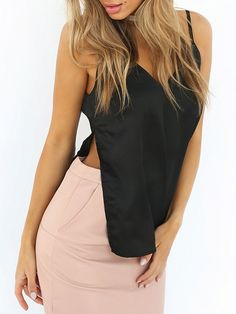 Black V Front and Back Satin Side Split Cami Top