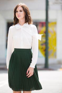 Midi Skirts for Women, Fall Skirts, Pleated Skirt, Green Skirt, Work Wear – Morning Lavender