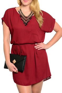 Rock your style in this dress! This dress is made of a sheer chiffon material that is lightweight and comfortable. There is a sash attached that really gives this dress a complete and sophisticated look! There's a solo front pocket. Short sleeves are great for changing weather! Look great in this dress! DRESS IS A TRUE BURGUNDY IN PERSON