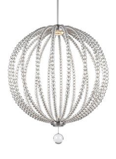"""The stunning, modern Oberlin LED collection by Feiss offers dramatic orbs beautifully adorned with graduated Clear Rondure beads, making a declarative design statement in a foyer, living or dining room. A decorative cap is included for installation without the removable bottom Clear Rondure detail. Available in 14"""", 20"""" and 32"""" (shown) diameter."""