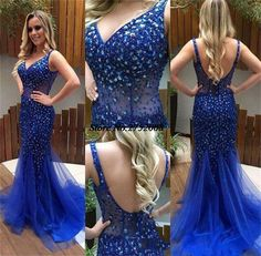 Women's New Royal Blue Backless Mermaid Tulle Evening