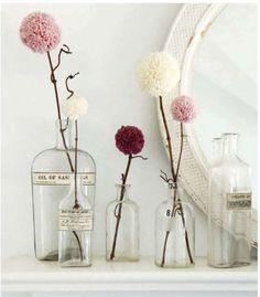 pompom flowers in vase