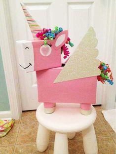 Unicorn Valentine Box convert to a pinata Valentine Day Boxes, Valentines For Kids, Valentine Day Crafts, Valentine Box Unicorn, Valentine Ideas, Unicorn Birthday Parties, Unicorn Party, Birthday Gifts, Unicorn Surprise