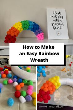 Are you looking for rainbow craft ideas for your front door or windows? This super easy tutorial to make a hanging rainbow wreath for kids uses pom poms! Fun Crafts For Kids, Crafts To Make, Easy Crafts, Easy Diy, Arts And Crafts, Kids Diy, Kid Crafts, Pom Pom Wreath, Pom Poms