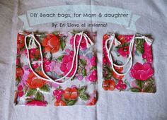 D.I.Y. Beach bags, for Mom and daughter, made with tablecloth fabric !
