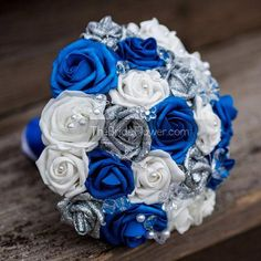 Royal blue and silver wedding bouquet with crystals glitter silver roses royal sapphire horizon blue white roses bridal silk bouquet Modern Wedding Flowers, Prom Flowers, White Wedding Bouquets, Bridal Flowers, Fake Flowers, Wedding Dresses, Silk Flowers, Bouquet Azul, Blue Bouquet
