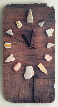Driftwood Clock w/ Sea Worn Ceramics Recycled Hands by JayBird Art