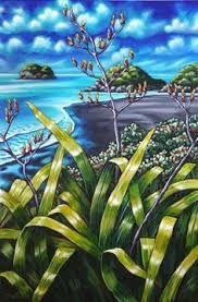 Caz Novak New Zealand Artist Pacifica Coastal NZ Art New Zealand Landscape, New Zealand Art, Nz Art, Maori Art, Les Cascades, Kiwiana, Pintura Country, Naive Art, Ocean Art