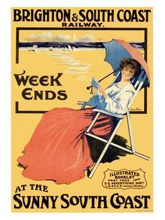 VP12321-11 - Brighton Weekends, Sunny South Coast, Vintage Travel Print (30x40cm Art Print)