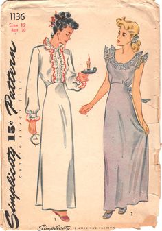 Simplicity 1136 1940s Ladies Lingerie Pattern Misses by mbchills