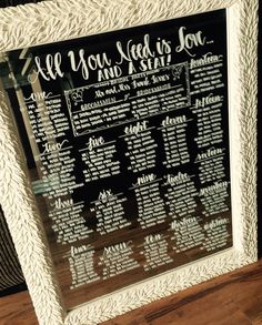 """All You Need is Love and a Seat"" Wedding Seating Charts on Mirrors."