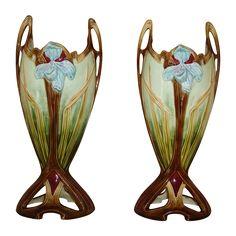 Pair Antique Vases French Art Nouveau Iris Faience Majolica Victorian France