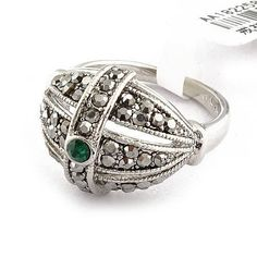 Emerald Silver Cocktail Ring Green CZ Bohemian Vintage Marcasite Size 6 7 8 USA #Cocktail