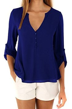 Happy Sailed Women 2016 New Casual Chiffon Button V Neck Blouses Shirts Large Blue >>> To view further for this item, visit the image link.
