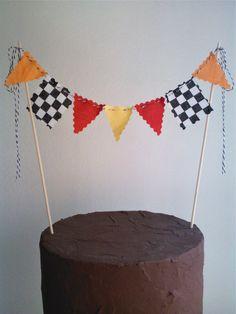 Cake Topper Boys Race Car Flags, Nascar, Monster Truck Cake Bunting Flags. $12.00, via Etsy.