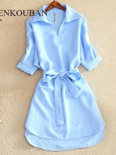 Shirts Women 2019 Summer Casual Dress Fashion Office Lady Solid Red Chiffon Dresses For Women Sashes Tunic Ladies Vestidos Femme – Linh's Corner Stylish Dresses For Girls, Casual Summer Dresses, Dress Shirts For Women, Blouses For Women, Long Shirts For Girls, Pretty Outfits, Cute Outfits, Mode Hijab, Ideias Fashion