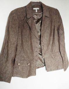 Laura Studio, light brown linen jacket, pockets, tailored