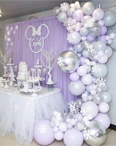 How beautiful is the setup you alway amaze me with your work 😍😍😍 balloons done by me Event Styled by… Lavender Baby Showers, Baby Shower Purple, Baby Girl Shower Themes, Girl Baby Shower Decorations, Baby Shower Winter, Birthday Party Decorations, Party Themes, Purple Party Decorations, Winter Onederland