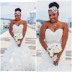 Love the headpiece Fancy Wedding Dresses, Elegant Wedding Dress, Bridal Dresses, Bridesmaid Dresses, Sophisticated Wedding, Wedding Looks, Bridal Looks, Black Wedding Hairstyles, Black Bride