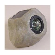 Small Solar Rock Night Light with White LED and Chrome Reflector