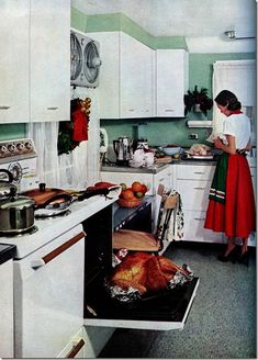 1950s, cooking Christmas Dinner.