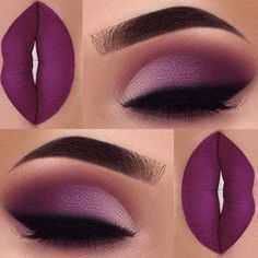 Adorable Mulberry Captivating Eye And Lip Makeup in Same Shade