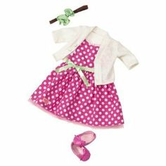 Our Generation Deluxe Outfit - Let's Hear It for the Poise by Maison Joseph Battat, Ltd.. $29.68. Material: Polyester, Cotton. Fits Doll Size: 18 Inches. Number of Pieces: 5. Manufacturer's Suggested Age: 3 Years and Up. Lots of dots and a bunch of fun! This stylish look includes: 1 sleeveless polka dot dress with ribbon, 1 cardigan sweater, 1 flowered headband, 1 pair of shoes and 1 OG Outfitters Catalog. Doll sold separately.