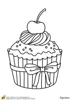 Un cupcake plein de crème avec une grosse cerise posée dessus à colorier - Hugolescargot.com
