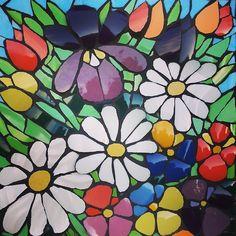 #mosaics #flowers #brokenchina#springgarden | Julie Aldridge | Flickr Mosaic Stepping Stones, Pebble Mosaic, Mosaic Wall, Mosaic Glass, Mosaic Tiles, Glass Art, Mosaic Tray, Stained Glass, Mosaic Garden Art