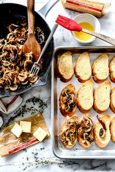 Onions and mushrooms caramelize with butter and Marsala wine to make the perfect topping for this easy crostini appetizer with a silky sweet taste. Caramelized Onions And Mushrooms, Mushroom And Onions, Stuffed Mushrooms, Appetizer Recipes, Appetizers, Yummy Recipes, Peach Syrup, Gluten Free Puff Pastry, Salty Cake