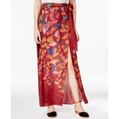 Free People Bri Bri Printed Maxi Skirt ($128) ❤ liked on Polyvore featuring skirts, red combo, maxi skirt, free people maxi skirt, ankle length skirt, long skirts and red skirt