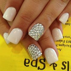 #nails #square #white #silver #rhinestones